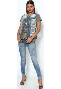 ... Colete Jeans Com Rebites   Destroyed - Azul Escurodimy 6202284fd0bea