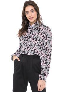 Camisa Enna Estampada Rosa/Cinza