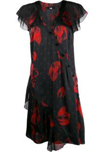 Karl Lagerfeld Vestido Floral Com Babados - Preto