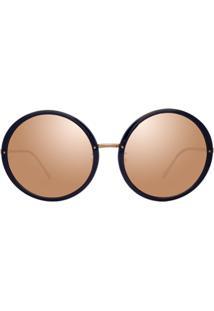 Linda Farrow Óculos De Sol Redondo Espelhado - Azul