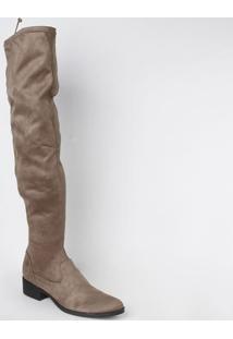 Bota Over The Knee Com Recortes - Marrom Claro - Salschutz
