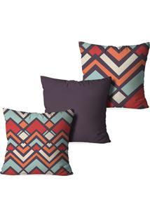 Kit 3 Capas Love Decor Para Almofadas Decorativas Formas Geometric Multicolorido Marrom - Kanui