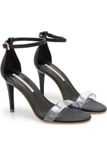 Sandália Napa Dubai Pistache Vinil Sapatinho De Luxo Feminina - Feminino-Preto