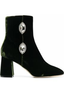 Giannico Ankle Boot Julie De Veludo - Verde