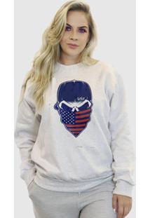 Blusa Moletom Feminino Moleton Bã¡Sico Suffix Cinza Claro Estampa Caveira Bonã© Usa Estados Unidos Vermelha E Azul - Cinza - Feminino - Poliã©Ster