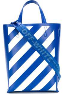 Off-White Bolsa Tote Com Listras Diagonais - Azul