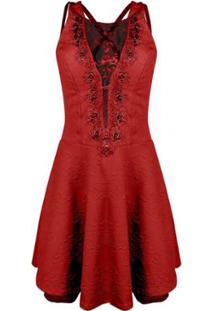 Vestido Outlet Dri Alça Grossa Gode Jacquard Perola Decote Detalhe Tule - Feminino-Vermelho