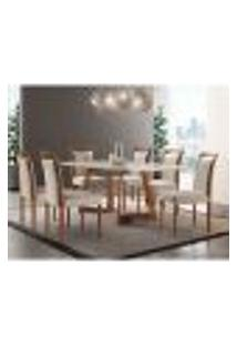 Conjunto De Mesa De Jantar Com 6 Cadeiras Lívia Linho Off White E Turim 200 Cm