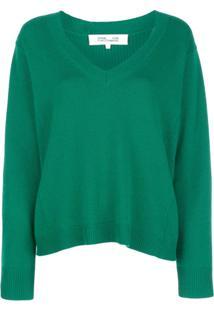Dvf Diane Von Furstenberg Suéter Decote Em V - Verde