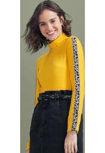 Blusa Amarela Com Gola Rolê