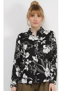 Camisa Charm Lady Floral Clássico Feminina - Feminino-Preto