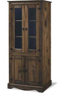 Cristaleira Colonial Rústico 4 Portas – Madeira Maciça – Cera Imbuia