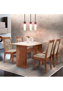 Conjunto De Mesa De Jantar Dakota Com Vidro E 4 Cadeiras Rubi L Suede Off White E Bege