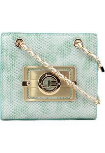 Bolsa Couro Jorge Bischoff Mini Bag Snake Feminina - Feminino-Verde Claro