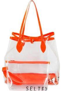 Bolsa Selten Transversal + Necessaire Transparente Neon Feminina - Feminino-Laranja