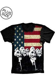 Camiseta Lu Geek Plus Size Flag Usa Skulls Preto