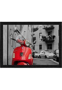 Capacho Colours Decorativo, Criativo E Colorido - Lambreta Vermelha Em Milão Na Itália | Tamanho 40 X 60 Cm