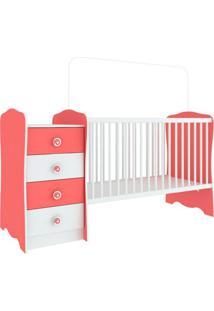 Berço Com Criado-Mudo Baby Estrela Branco E Rosa