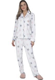 Pijama Aberto Fleece Etoiles Lua Luá Branco