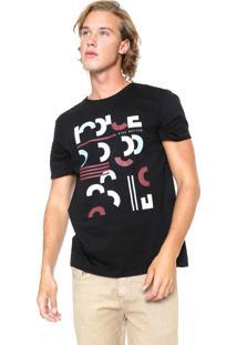 Camiseta Iódice Manga Curta Estampada Preta