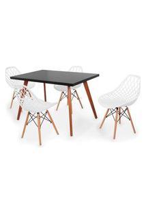 Conjunto Mesa De Jantar Gih 120X80Cm Preta Com 4 Cadeiras Vision - Branco