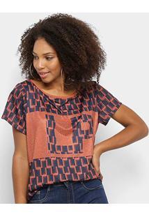 Tshirt Lança Perfume Estampada Com Aplicação Feminina - Feminino-Caramelo+Marinho