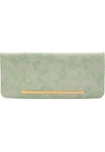 Clutch Couro Jorge Bischoff Textura Verde
