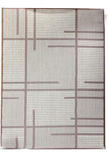 Tapete Sisllê Geométrico V Retangular Polipropileno (50X80) Bege E Tabaco