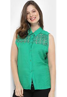 Camisa For Why Cavada Guipir Tiras Costas Feminina - Feminino-Verde