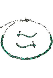 Conjunto Infine Choker E Brincos Ear Cuff Cristal Verde Turmalina - Tricae