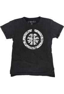 Camiseta Longline Stoned Estonada Signature White Cinza