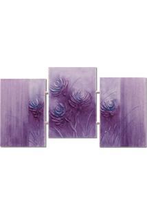 Quadro Artesanal Trio Com Textura Abstrato Lilás Uniart