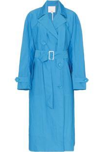 Tibi Trench Coat Com Cinto - Azul