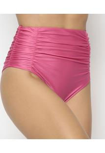 Calcinha Hot Pant Com Franzidos - Rosa Escuror. Do Sol