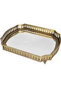 Bandeja Retangular Decorativa Btc Metal Com Vidro Espelhado - Dourado