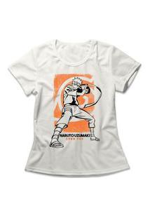 Camiseta Feminina Naruto Uzumaki Off-White
