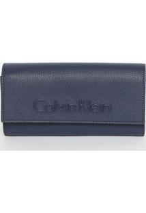 Carteira Texturizada Com Recortes - Azul Marinho - 1Calvin Klein