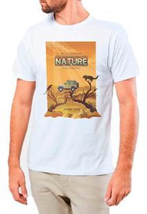 Camiseta Masculina Eco Canyon Nature Desert Branco