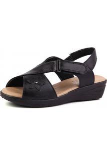 Sandália Doctor Shoes Anabela 7998 Flor Preta