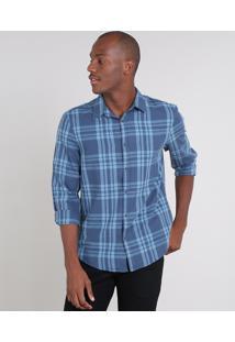 Camisa Masculina Comfort Estampada Xadrez Com Linho Manga Longa Azul