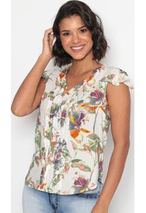Blusa Floral Com Pregas-Branca & Laranja-Vip Reservavip Reserva