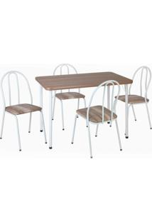 Conjunto De Mesa Com 4 Cadeiras Andréia Corino Branco E Marrom