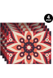 Kit 4Pçs Jogo Americano Mdecor Abstrato 40X28Cm Coral