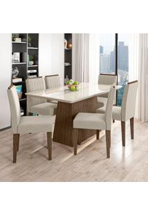 Conjunto De Mesa De Jantar Com Tampo De Vidro Bárbara E 6 Cadeiras Ana I Animalle Off White E Creme