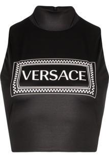 Versace Blusa Cropped Com Estampa De Logo - Preto