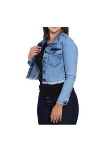 Jaqueta Jeans Feminina Cropped Com Elastano Curta Frozini Sky Leve Azul