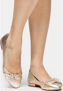 de79d074df ... Sapatilha Couro Shoestock Pedraria Dolce Feminina - Feminino-Dourado