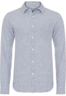 Camisa Masculina Classic Linen Vichy - Azul