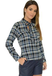 Camisa Mamorena Gola Laço Com Punho Botão Azul