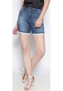 Bermuda Jeans Em Moletinho- Azul Escurodimy